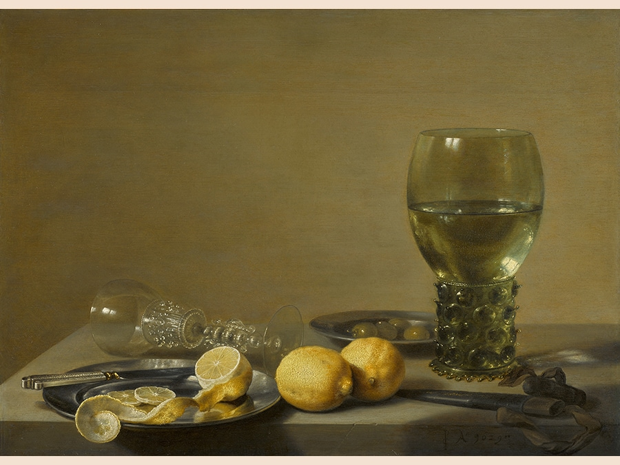 Pieter Claesz. Still Life of Lemons and Olives, Pewter Plates, a Roemer and a Façon-de-Venise wine Glass on a Ledge, signed in monogram and dated lower right: PC Ao .1629. oil on oak panel 17 1/2 by 24 in.; 44.5 by 61 cm.; Estimate $700/900,000. Sold for 2,535,000. RECORD FOR THE ARTIST AT AUCTION