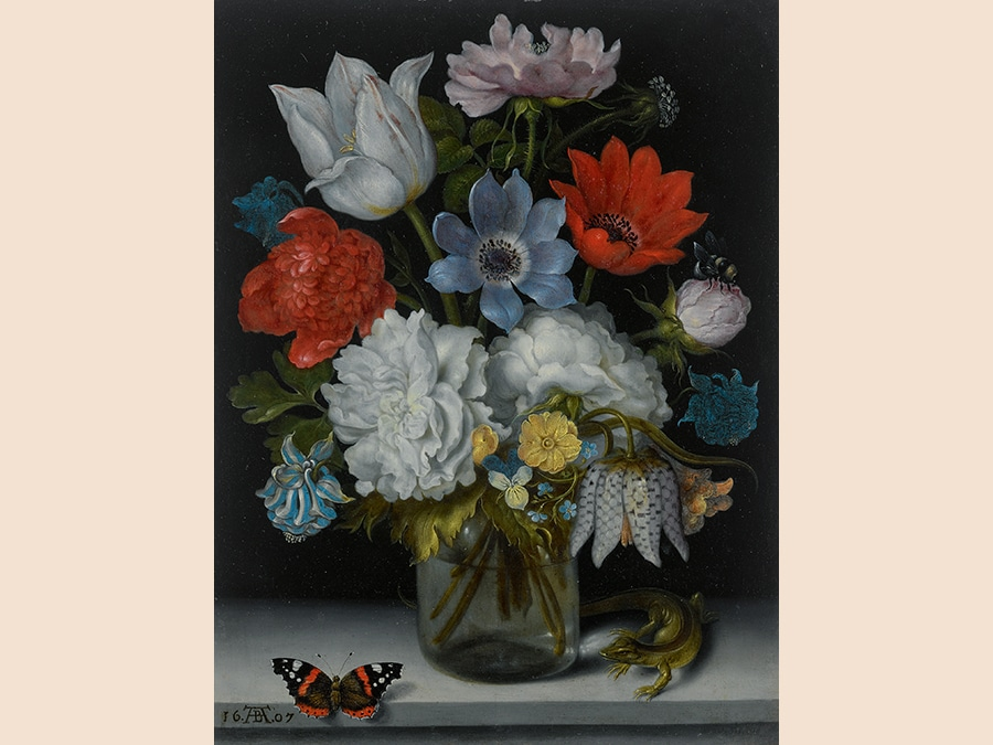 Property of an East Coast Private Collector.Ambrosius Bosschaert the Elder. A Still Life of Flowers in a Glass Flask on a Marble Ledge, Flanked by a Red Admiral Butterfly and a Lizard, signed in monogram and dated lower left: 16 AB 07, formerly inscribed on a label affixed to a backing board: Tableau de cuivre/ de Brughel de Velours/ A été donné à mon père par/ Mme Marcel, veuve de l'orientaliste/ de ce nom qui avait fait partie/ de l'éxpedition d'Egypte et qui plus/ tard, devenu aveugle, dicta, et qui plus/ tard, à sa femme, une dictionnaire arabe/ for apprecié, oil on copper 9 3/8 by 7 1/4 in.; 23.8 by 18.4 cm. Estimate $2.5/3.5 million. Sold for $3,015,000