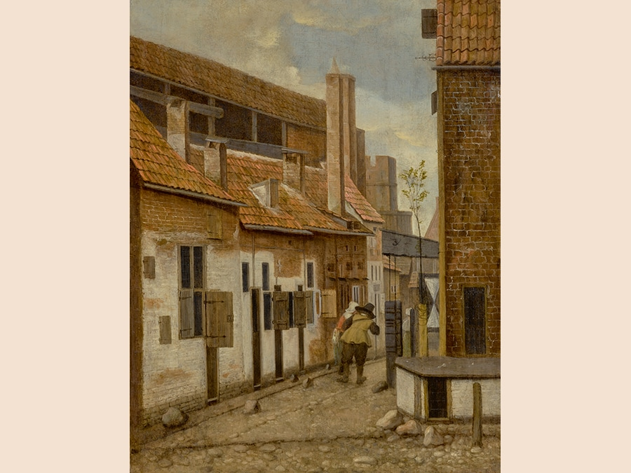 Jacobus Vrel,. Street Scene with Two Figures Walking Away, signed in monogram middle right: JV oil on panel 14 by 11 in.; 35.7 by 27.8 cm. Estimate $1.5/2 million. Sold for $1,215,000