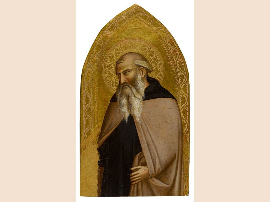Taddeo Gaddi. Saint Anthony Abbot, tempera on panel, gold ground.  24½ by 13½ in.; 62.2 by 34.3 cm. Estimate $800,000/1.2 million. Sold for $2,055,000