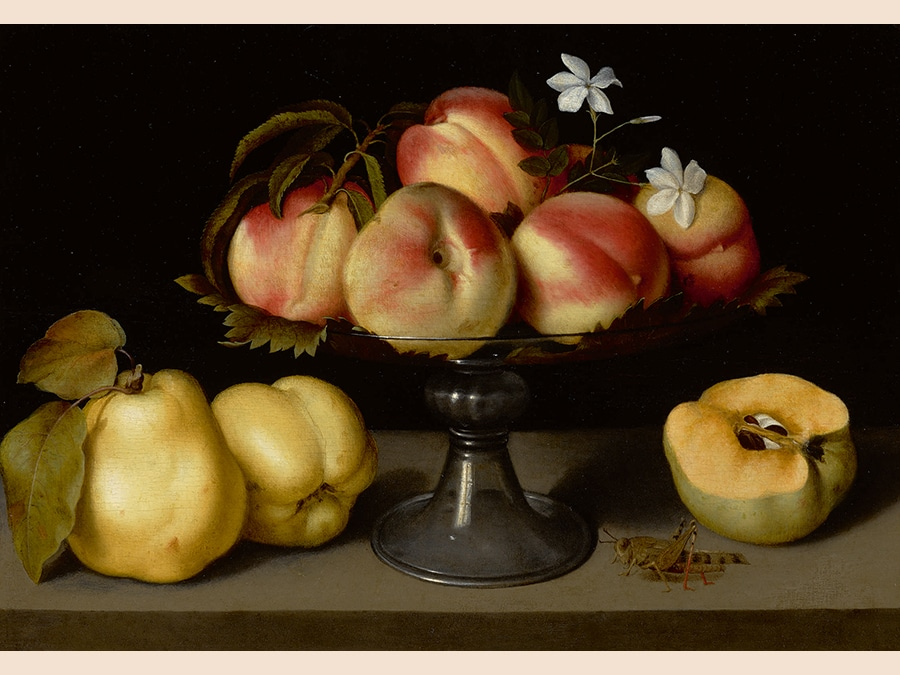 Property of a West Coast Collector. Fede Galizia. A Glass Compote with Peaches, Jasmine Flowers, Quinces, and a Grasshopper. Oil on panel 12 by 17 in.; 30.5 by 43.2 cm. Estimate $2/3 million. Sold for $2,415,000. RECORD FOR THE ARTIST AT AUCTION