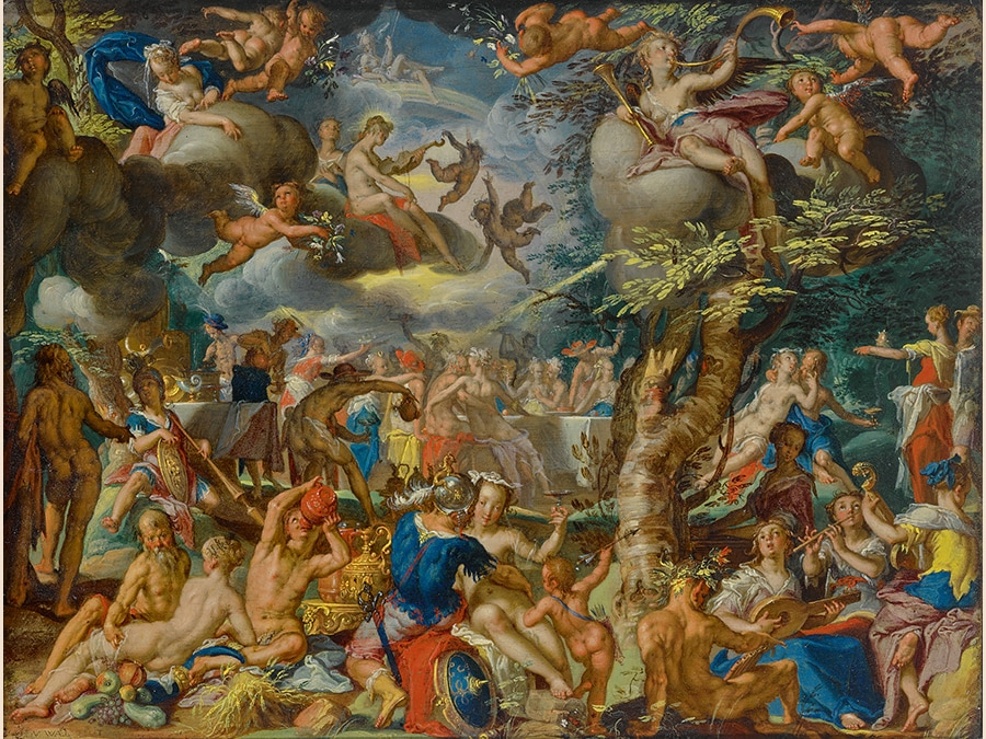 Joachim Anthonisz. Wtewael. A Banquet of the Gods. signed lower left: J(?) V WÆL FECIT. oil on copper. 6 1/4 by 8 in.; 15.8 by 20.4 cm. Estimate $5/7 million. Sold for $5,944,000