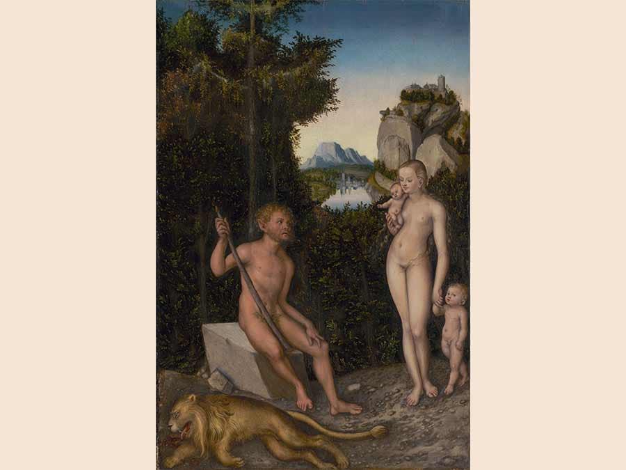 A Faun and His Family with a Slain Lion, Lucas Cranach the Elder