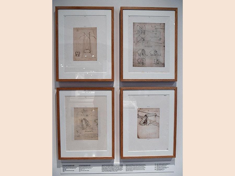 """""""Leonardo da Vinci. La scienza prima della scienza """". Quattro pagine del Codice Atlantico. (Ansa / Ettore Ferrari)"""