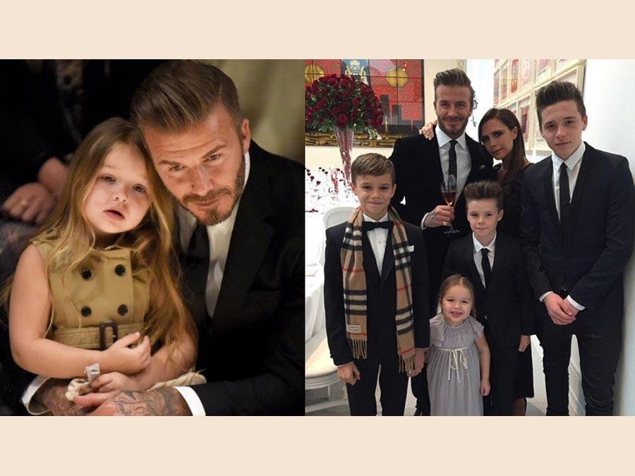 David Beckham con la moglie Victoria e i   figli