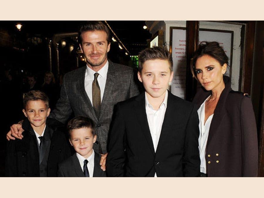 David Beckham con la famiglia