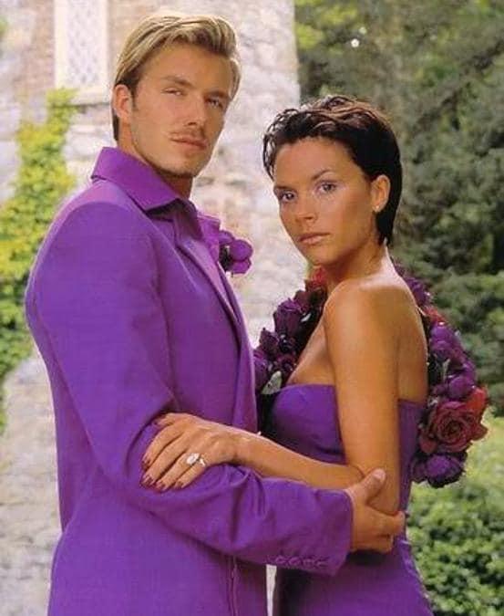David Beckham e Victoria Adams, al ricevimento del loro matrimonio