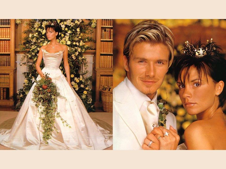 David e Victoria Beckham il giorno del loro matrimonio