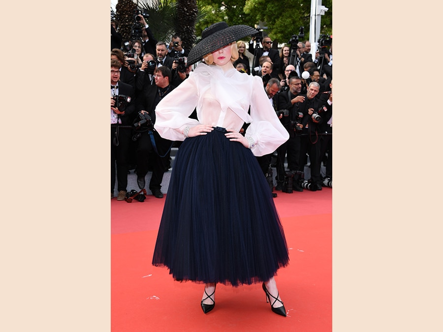 Elle Fanning in Christian Dior Haute Couture (Photo by Daniele Venturelli/WireImage)