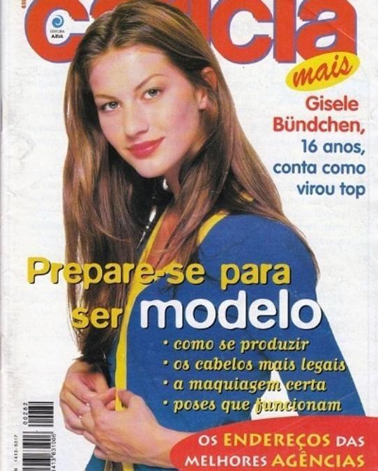Gisele Bundchen: nata a Horizontina, Brasile, nel 1980, ha iniza sua carriera di modella a 14 anni. Questa è la sua prima cover, del 1997