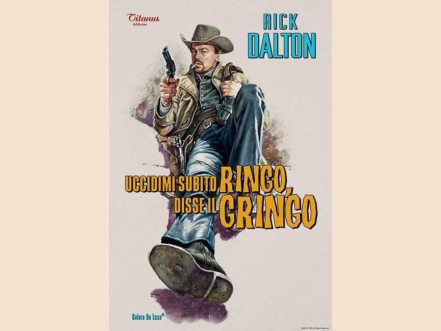 Un poster raffigurante una pellicola di Rick Dalton (Leonardo Di Caprio)