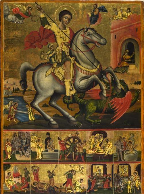 """Sant'Agostino, prossima asta del 27 maggio icona greca del XVIII secolo, """"San Giorgio con scene della vita"""" proposta per 5mila euro"""