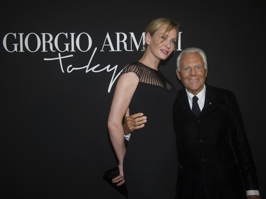 Uma Thurman con Giorgio Armani (credit SGP)