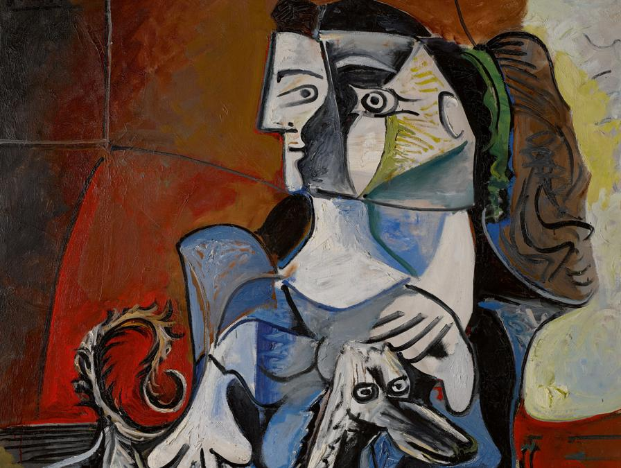Property from a Private Collection, Japan, Pablo Picasso, Femme Au Chien. Signed Picasso (upper left); extensively dated (on the reverse), Oil on canvas, 63 3/4 by 51 1/4 in. 162 by 130 cm, Painted from November 23 to December 14, 1962. Estimate $25/30 million, Sold for $54,936,000AUCTION RECORD FOR A 1960s PICASSO