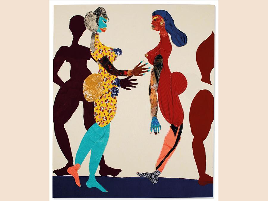 Tschabalala Self (1990) «Out of Body» collage di olio e tessuto su tela . Eseguito nel 2015 . Venduto per £371,250