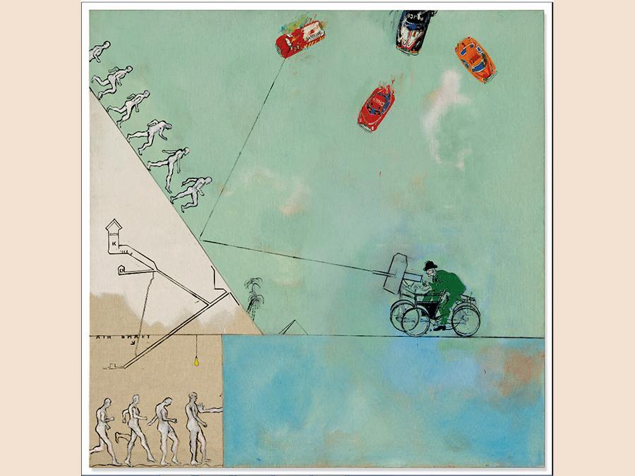 Derek Boshier  (1937) « Man Versus Look, Versus Life, Versus Time, Versus Man About» olio su tela. Venduto per £237,500