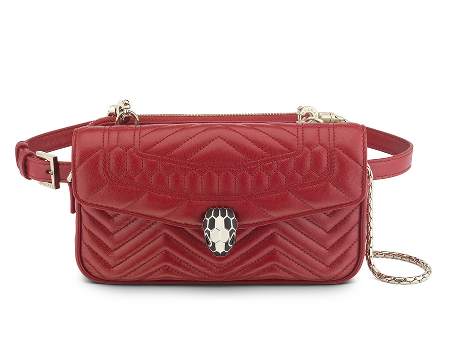 Belt bag collezione Serpenti, in pelle trapuntata, Bulgari