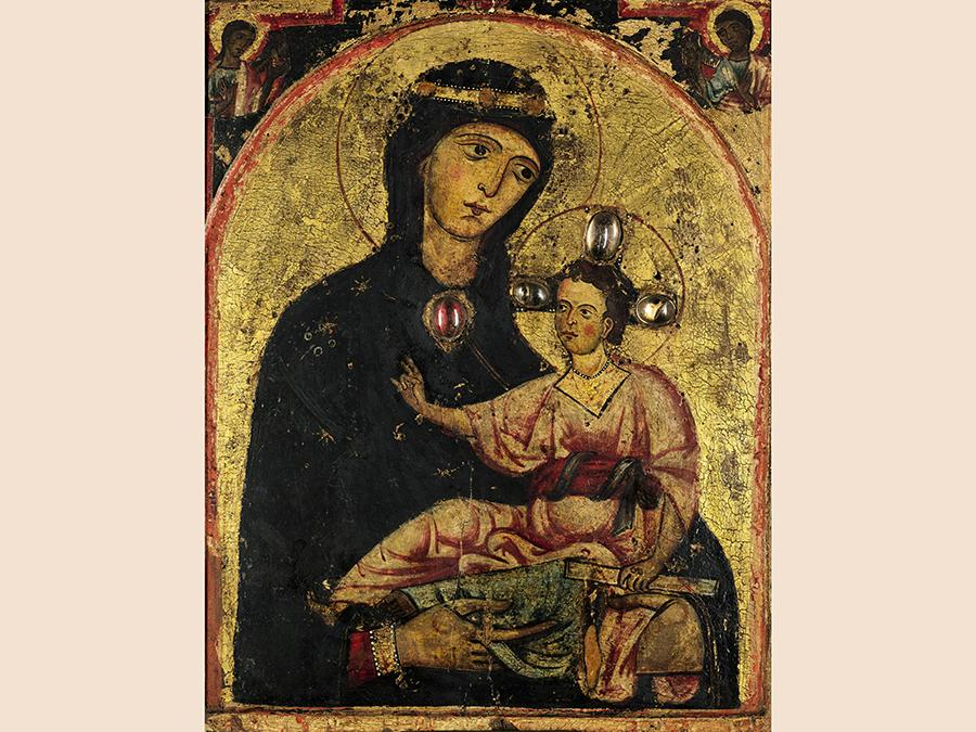 Third Master of Anagni, The Madonna and Child, two angels in the spandrels above, tempera on panel, mid-1230s, est.£ 200,000 - 300,000