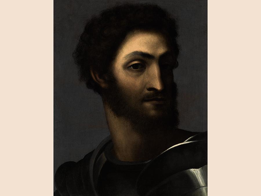 Sebastiano Luciani, calle Sebastiano dell Piombio, Portrait of a man in armour said to be Ippolito de'Medici, oil on slate, est. £1,000,000-1,500,000