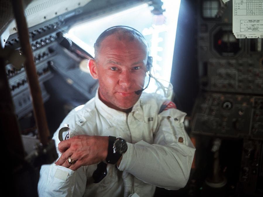 Buzz Aldrin nell'Apollo 11 con l'Omega Speedmaster