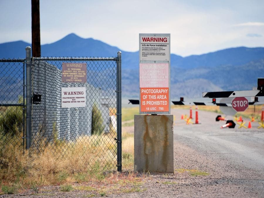Rachel, Nevada, un cartello di divieto d'ingresso posto all'entrata dell'Area 51 (David Becker/Getty Images/AFP)