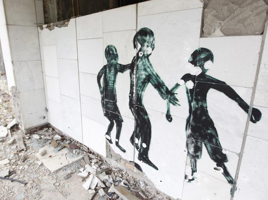 Graffiti nella città abbandonata di Pripyat (Photo by STR/NurPhoto)