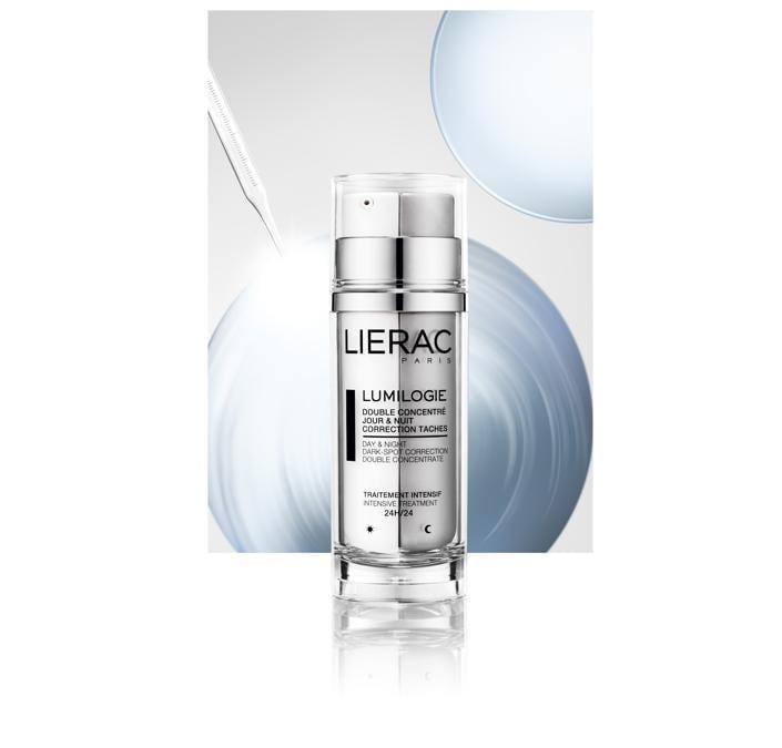 Lumilogie di Lierac, trattamento anti-macchia con una doppia formula giorno&notte per agire in maniera mirata sulle macchie in via di formazione, visibili e diffuse