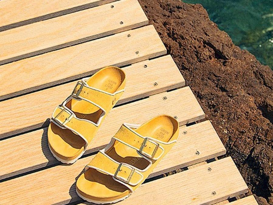 """Le Birkenstock della capsule """"Il Dolce Far Niente"""" realizzata per l'hotel Il Pellicano di Porto Ercole"""