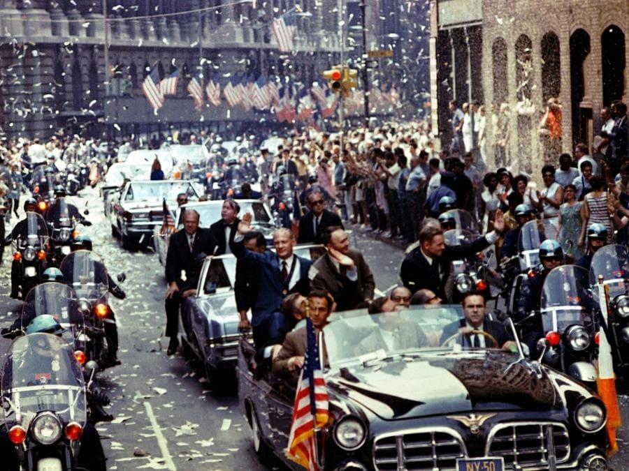 13 agosto 1969, New York City. Buzz Aldrin, Michael Collins e Neil Armstrong (Reuters)