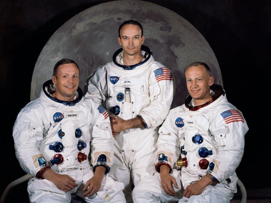 30 marzo 1969,Kennedy Space Center.   Neil A. Armstrong,  Michael Collins e Edwin E. 'Buzz' Aldrin (Afp)