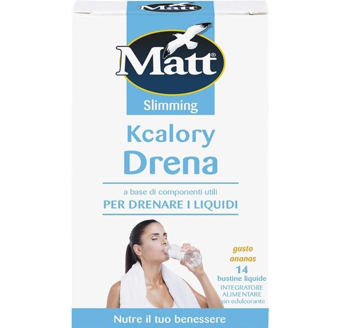 Matt Kcalory Drena, bustine a base di ananas da versare in mezzo litro d'acqua per drenare i liquidi. Contiene anche caffeina per contrastare la cellulite