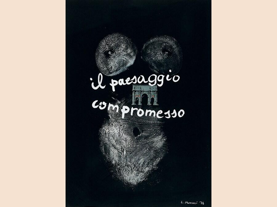 Lucia Marcucci, 1976, Il paesaggio compromesso, impronte, collage e acrilico su cartoncino, cm 70x50
