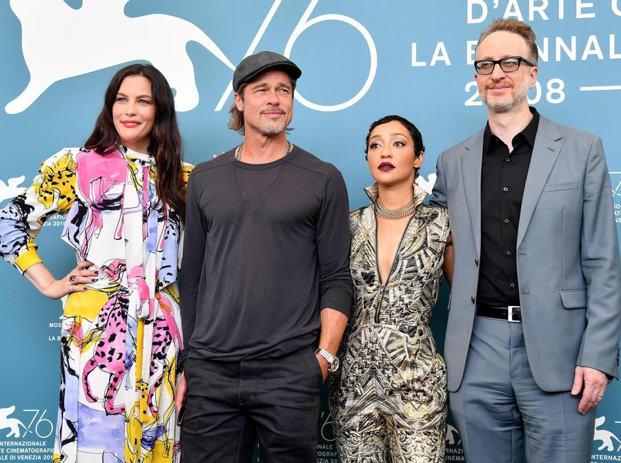 Liv Tyler,  Brad Pitt, Ruth Negga  e il regista James Gray. (ANSA/ETTORE FERRARI)