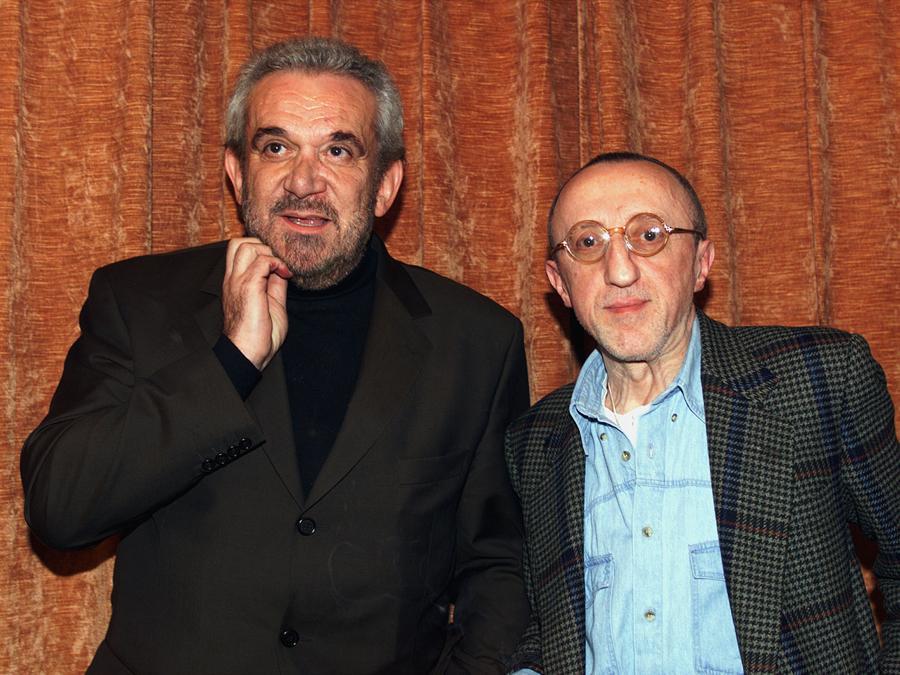 1999, Roma.  Gianni Cavina e Carlo Delle Piane alla presentazione del film di Pupi Avati  'La via degli Angeli' (Ansa)