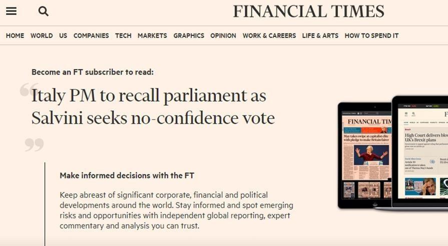 Un articolo dell'edizione on line del Financial Times sulla crisi di governo in Italia, Roma 9 agosto 2019. ANSA/FINANCIAL TIMES