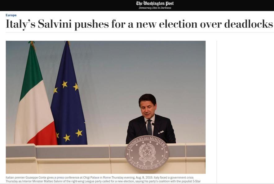 L'articolo con cui l'edizione on line di The Washington Post copre la crisi di governo in Italia, Roma 9 agosto 2019. ANSA/WASHINGTON POST