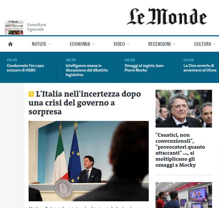 L'articolo con cui l'edizione on line de Le Monde copre la crisi di governo in Italia, Roma 9 agosto 2019. ANSA/LE MONDE
