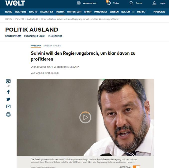 L'articolo con cui l'edizione on line di Welt copre la crisi di governo in Italia, Roma 9 agosto 2019. ANSA/WELT