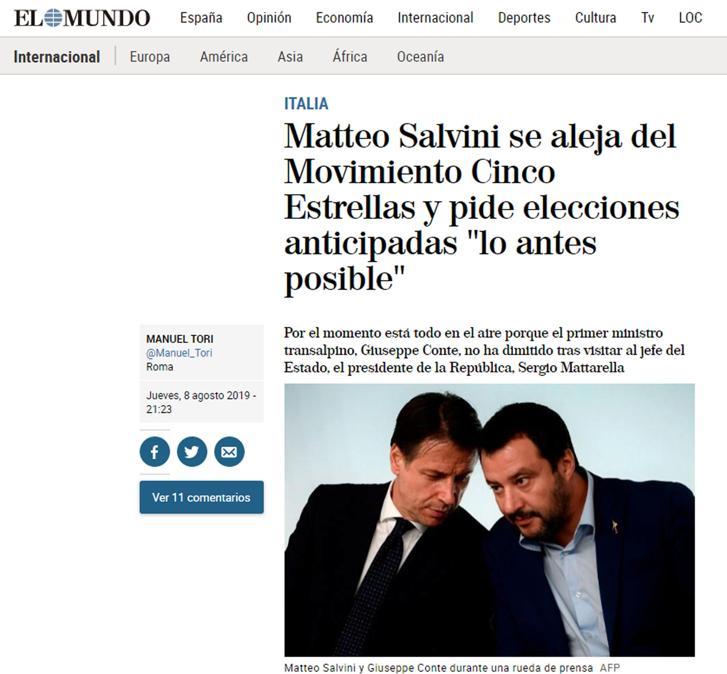 L'articolo con cui l'edizione on line di El mundo copre la crisi di governo in Italia, Roma 9 agosto 2019. ANSA/EL MUNDO