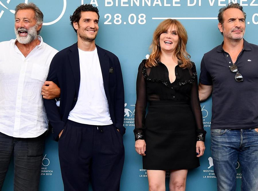 Luca Barbareschi,  Louis Garrel , Emmanuelle Seigner e Jean Dujardin per il film «J'Accuse» (ANSA/ETTORE FERRARI)
