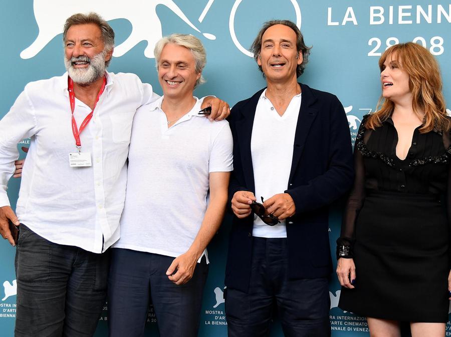 Luca Barbareschi, Alain Goldman, Alexandre Desplat,  Emmanuelle Seigner per il film «J'Accuse». (ANSA/ETTORE FERRARI)