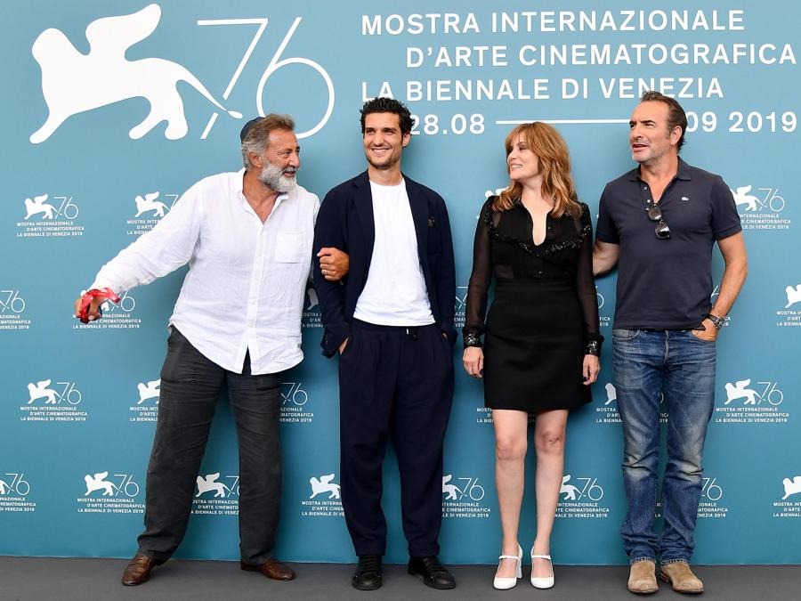 Luca Barbareschi,  Louis Garrel, Emmanuelle Seigner e Jean Dujardin per «J'Accuse». (ANSA/ETTORE FERRARI)