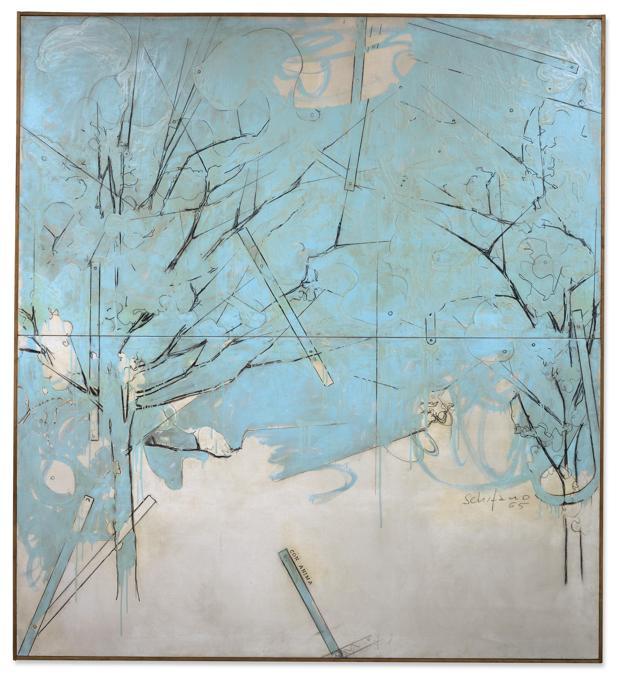 Sotheby's  - Mario Schifano, «Con Anima» 1965, stima 500- 600.000 €, venduto a 972.500 € (diritti inclusi)