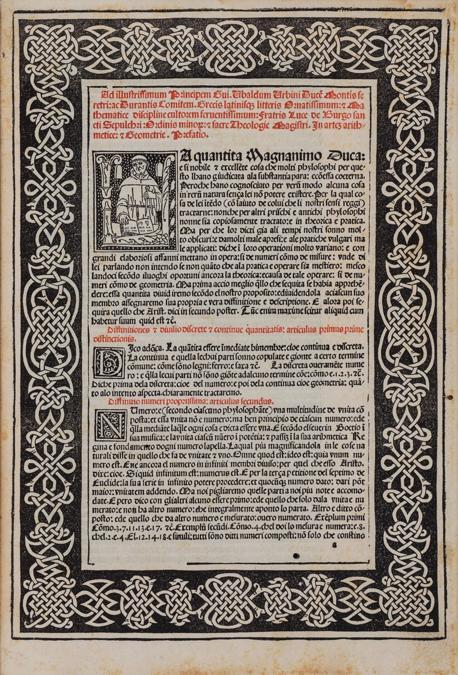 Finarte - Luca Pacioli, «Suma de Arithmetica Geometria Proportioni & Proportinalita», Venezia Paganino de' Paganini, 1494, stima 300- 400.000 €, venduto a 440.000