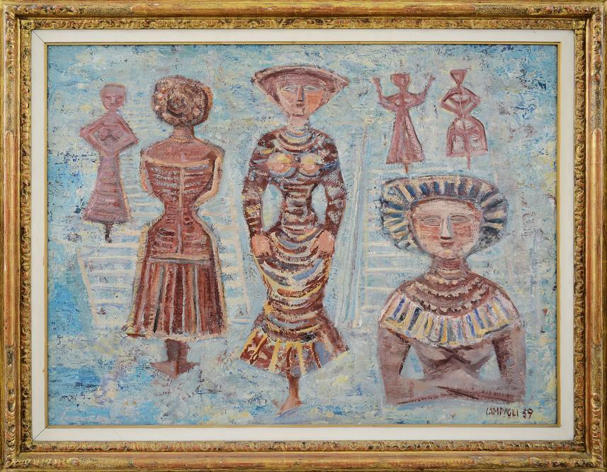 Meeting Art  - Massimo CampigIi, «Donne e scale, Figure su fondo azzurro» 1959, stima 180-200.000 €, venduto a 160.000