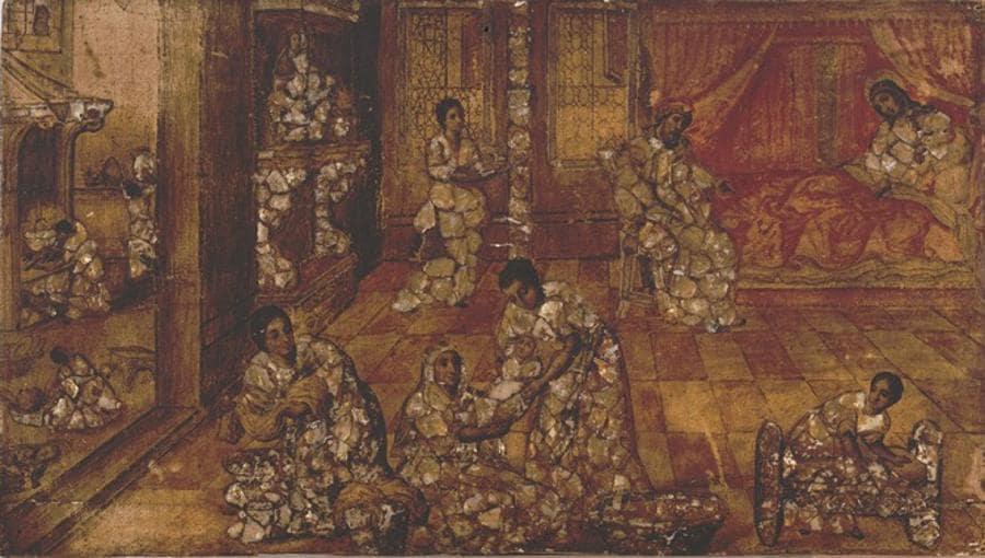 Casa d'aste Babuino  - Pittore toscano, «Interno con scena biblica» XVIII secolo, stima € 500-700, venduto a 30.000