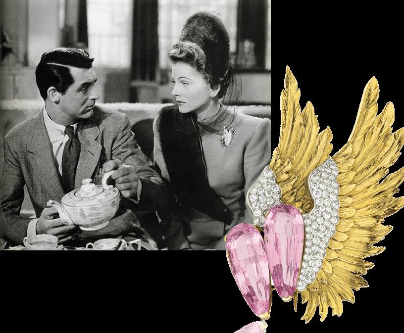 """1941, Joan Fontaine indossa la spilla """"Ali"""" nel film """"Il sospetto"""" di Alfred Hitchcock"""