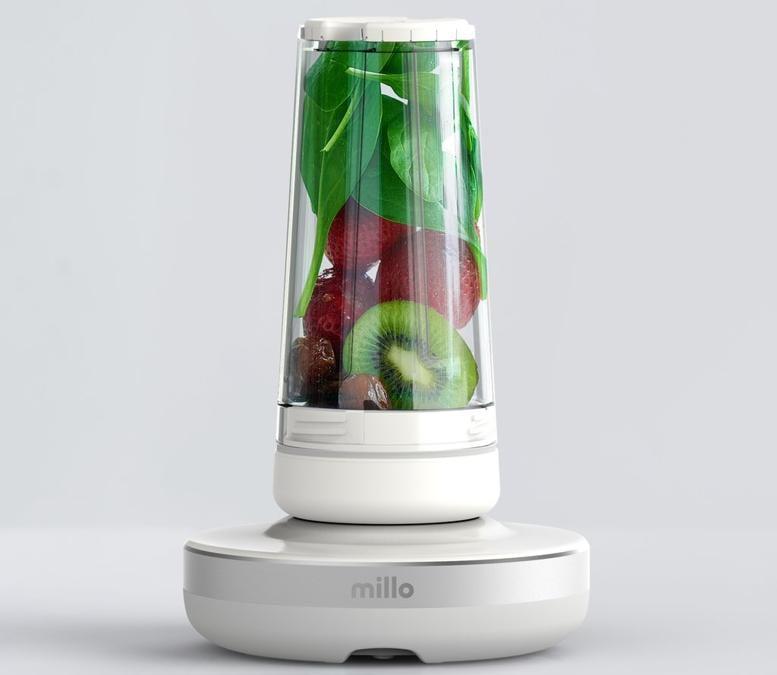 Millo, mixer senza filo con bicchiere asportabile, si avvia sfiorandolo su a 360°