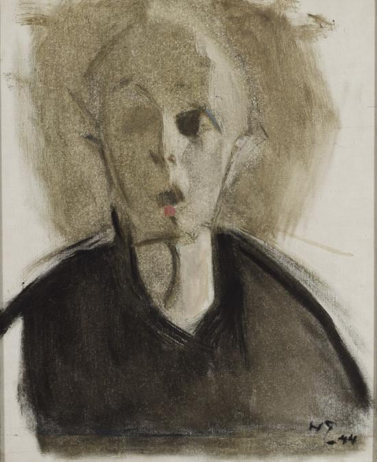 Helene Schjerfbeck, Self-portrait with Red Spot, 1944. Oil on canvas, 45 x 37 cm. Bertha Stenman Donation. Finnish National Gallery / Ateneum Art Museum; photo: Hannu Aaltonen