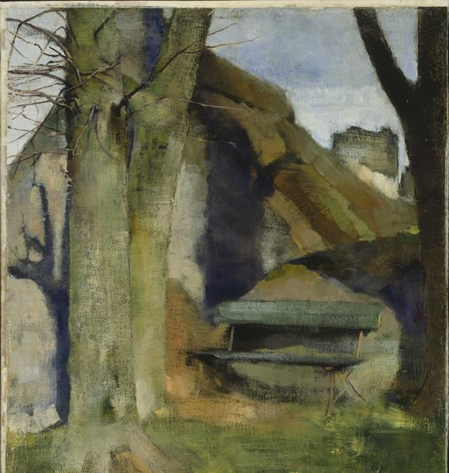 Helene Schjerfbeck, Shadow on the Wall (Breton Landscape), 1883. Oil on canvas mounted on wood, 45 x 38 cm. Niemistà Collection; photo: Finnish National Gallery / Hannu Aaltonen